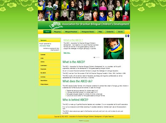 We designed a website of the Association for Brazilian Bilingual Children's Development