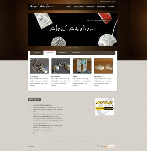 Alex' Atelier website designed and developed by DigIdeas