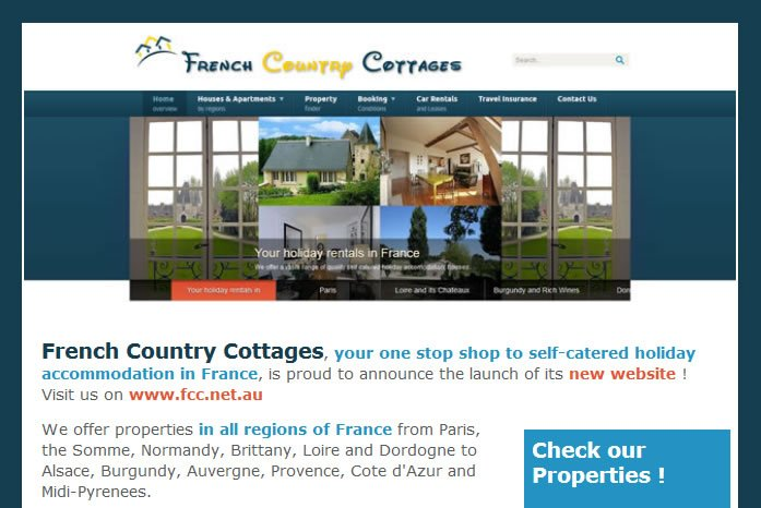 Newsletter designed for the launch of French Country Cottages new website