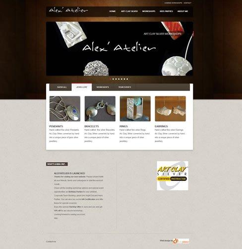 Alex' Atelier website designed and developed by DigIdeas