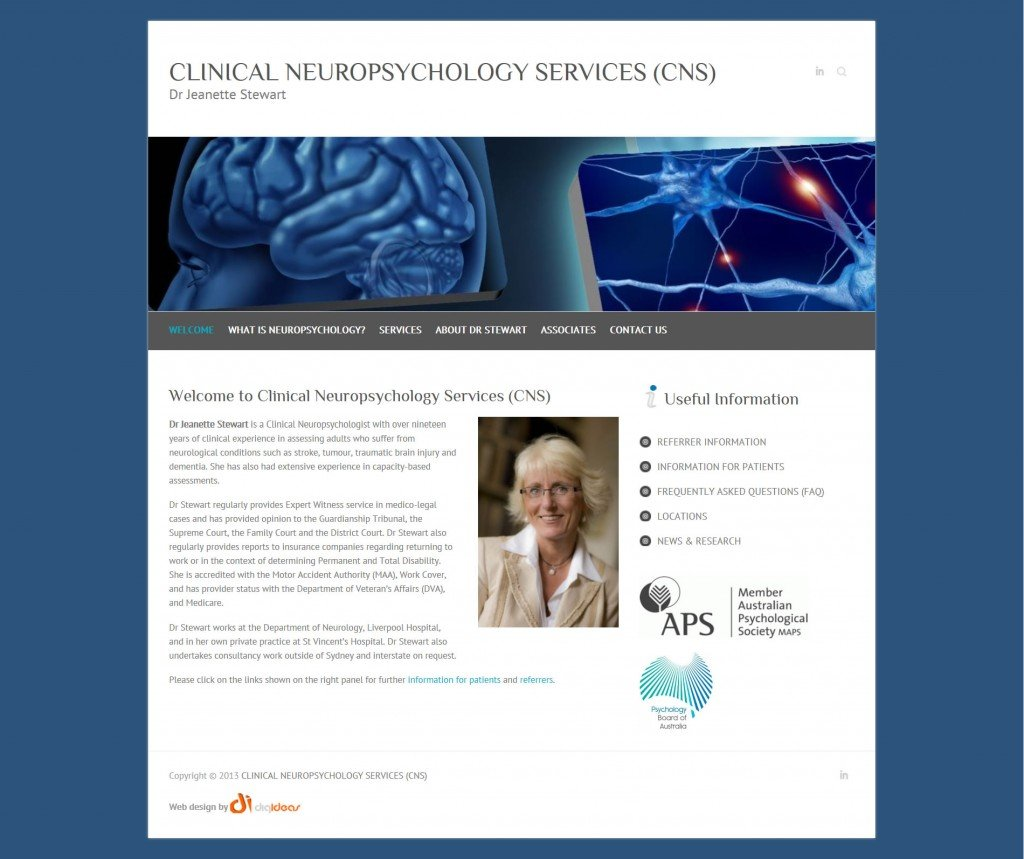 Clinical Neuropsychology website developed by DigIdeas