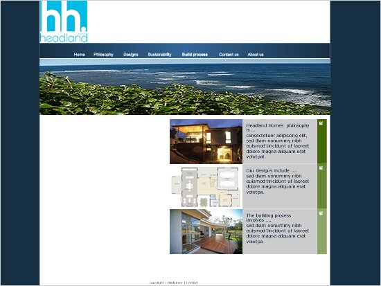 Website mock for a buildig business on Sydney Northern Beaches